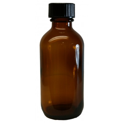 2oz Amber Glass Bottle Black Cap