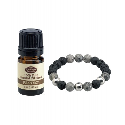 Bracelet Lava Ball Grey Obsidian with 5mL Oil