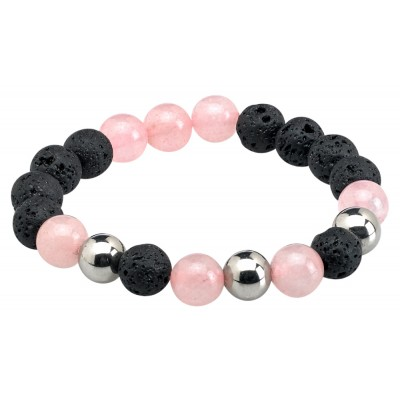 Bracelet Lava Ball Rose Quartz