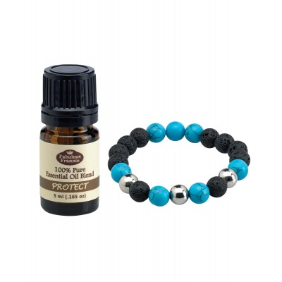 Bracelet Lava Ball Turquoise with 5mL Oil