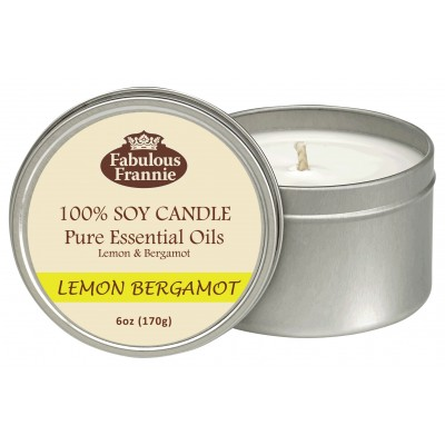 Lemon Bergamot Essential Oil Candle 6oz Tin