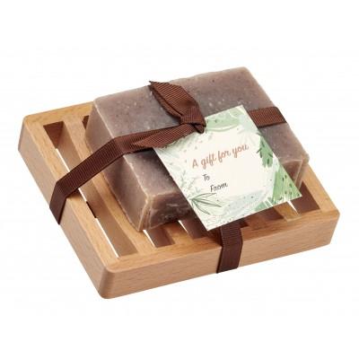 Cinnamon Natural Herbal Bar Soap 4 oz - Soap Dish Gift Set