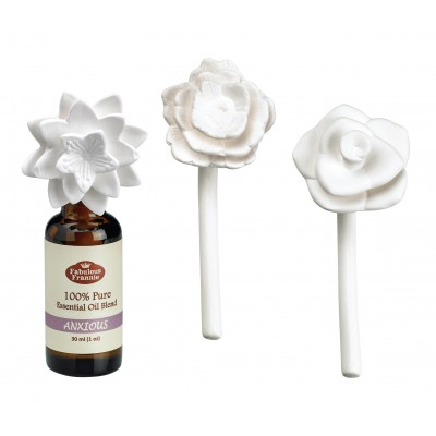 Ceramic Aroma Flower Diffuser 3pk w/ 30ml Anxious