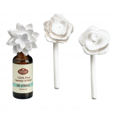 Ceramic Aroma Flower Diffuser 3pk w/ 30ml De-Stress
