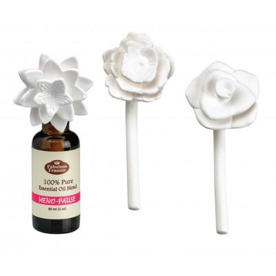 Ceramic Aroma Flower Diffuser 3pk w/ 30ml Meno-Pause