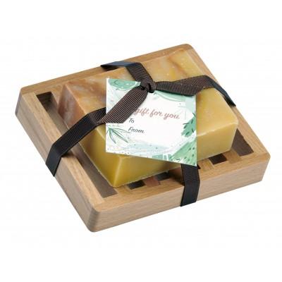 Patchouli Natural Herbal Bar Soap 4 oz - Soap Dish Gift Set