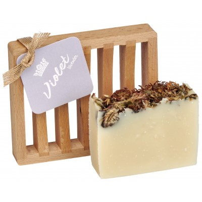 Violet Lavender All Natural Bar Soap 4oz - Soap Dish Gift Set